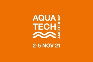 Logo of the Aquatech Amterdam exhibition 2021, trade fair dedicated to the water sector, held in Amsterdam from November 2 to 5, 2021.