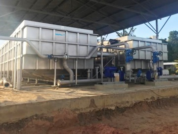 SIGMADAF DAF FPAC200 equipment as sludge thickeners, installed at the San Fernando WWTP in Trinidad and Tobago.
